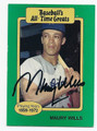 MAURY WILLS LOS ANGELES DODGERS AUTOGRAPHED VINTAGE BASEBALL CARD #100916A