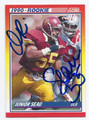 JUNIOR SEAU USC TROJANS AUTOGRAPHED VINTAGE ROOKIE FOOTBALL CARD #102416B