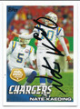 NATE KAEDING SAN DIEGO CHARGERS AUTOGRAPHED FOOTBALL CARD #110416A