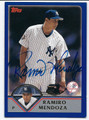 RAMIRO MENDOZA NEW YORK YANKEES AUTOGRAPHED BASEBALL CARD #110416B