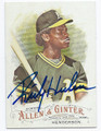 RICKEY HENDERSON OAKLAND ATHLETICS AUTOGRAPHED BASEBALL CARD #112916A