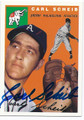 CARL SCHEIB PHILADELPHIA ATHLETICS AUTOGRAPHED BASEBALL CARD #113016F