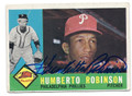 HUMBERTO ROBINSON PHILADELPHIA PHILLIES AUTOGRAPHED VINTAGE BASEBALL CARD #120116J