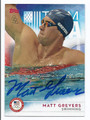MATT GREVERS AUTOGRAPHED OLYMPIC SWIMMING CARD #120816E