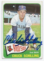 CHUCK SCHILLING BOSTON RED SOX AUTOGRAPHED VINTAGE BASEBALL CARD #121216C