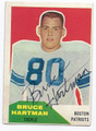 BRUCE HARTMAN BOSTON PATRIOTS AUTOGRAPHED VINTAGE FOOTBALL CARD #121616C