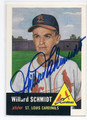 WILLARD SCHMIDT ST LOUIS CARDINALS AUTOGRAPHED BASEBALL CARD #121916B