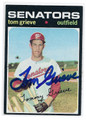 TOM GRIEVE WASHINGTON SENATORS AUTOGRAPHED VINTAGE ROOKIE BASEBALL CARD #122216C