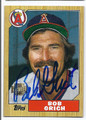 BOB GRICH CALIFORNIA ANGELS AUTOGRAPHED BASEBALL CARD #12217A