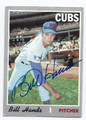 BILL HANDS CHICAGO CUBS AUTOGRAPHED VINTAGE BASEBALL CARD #12217E