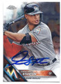 GIANCARLO STANTON MIAMI MARLINS AUTOGRAPHED BASEBALL CARD #12817D