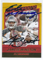 JAMEIS WINSTON & ELI MANNING TAMPA BAY BUCCANEERS AND NEW YORK GIANTS DOUBLE AUTOGRAPHED FOOTBALL CARD #12917C