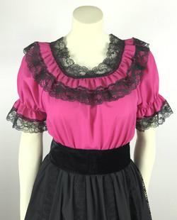 Lace Trim Ruffle Top- Raspberry/Black