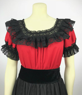 Fiesta Blouse - Red/Black