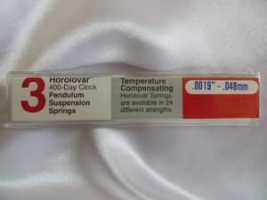 """Horolovar .0019"""" - .048mm 3 Pack 400 Day Clock Suspension Springs"""