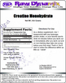 Creatine Monohydrate by Raw Dynamix (250grams)