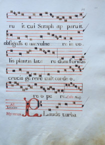 "M3871 A genuine leaf from a Franciscan Choirbook, manuscript on paper, Spain, ca. 1725.  Latin text written in black ink in a large rounded bookhand, four-line staves and rubrics in red. From a monastery of St. Bernardino. Decorated initial ""P"" painted in red and blue opens the Hymn ""Plaude turbapaupercula....""  Size: 19 7/8 x 14 ¼ inches.  Mat size: 24 x 18 inches."