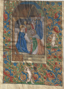 M6086 Vellum leaf from a Latin Book of Hours with miniature of the Adoration of the Magi within full-page floral border, text written in bâtarde hand in brown ink, 2 lines on recto and 13 on verso.   2 figures (one holding a sword) in the margins. France, 15th century.  Size: 4 3/4 x 3 1/4 inches.