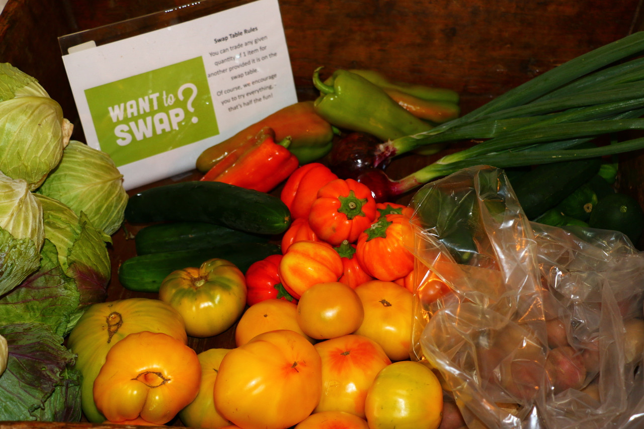 A swap out table is provide at pickup.  This enables our members to customize their basket. taking out items they may have too much of, or switching an item they can eat more of