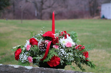 """One Candle Christmas Centerpiece 16"""" Overall in length"""