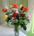 Assorted Dozen Roses in Vase