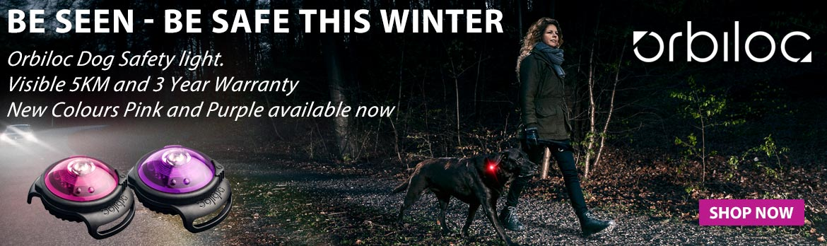 Orbiloc Dog Safety Light. Available in 7 colours. Keep your dog seen and safe this winter.