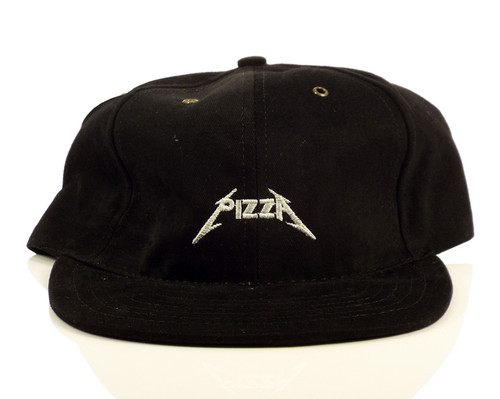 Pizza Metal Strapback Hat - Black