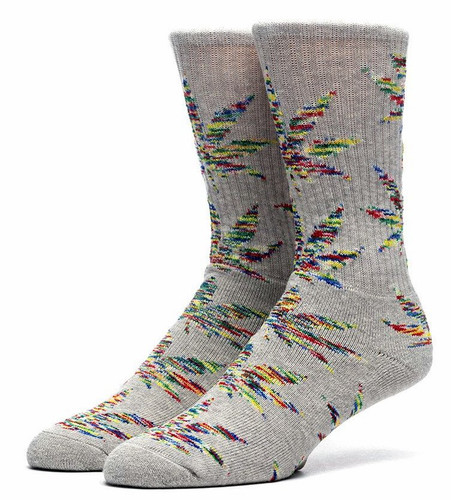 Huf Melange Plantlife Crew Socks - Grey Heather/Red