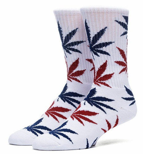 Huf Plantlife Crew Socks - White/Red/Navy