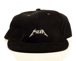 Pizza Metal Strapback Hat - Black