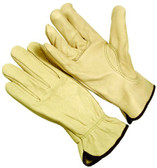 B-Grade grain cowhide leather driver glove. Keystone thumb. Shirred elastic wrist. Cotton hem color coded. (SG-4634)