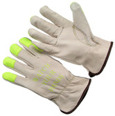 Grain driver, green Hi-Vis fingertips with logo, unlined cowhide driver. (SG-4364GHV)