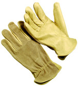 Select grain cowhide leather palm split cowhide leather back driver glove. Keystone thumb construction. Shirred elastic wrist. (SG-4364SBK)