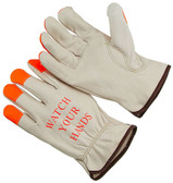 "Select grain cowhide leather driver glove. Hi-Vis orange at the fingertips and a Hi-Vis ""WATCH YOUR HANDS"". Keystone thumb. Shirred elastic wrist. Cotton hem color coded for easy size identification. (SG-4364HVOF)"