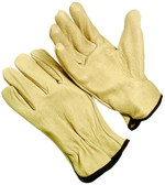 Regular grade pigskin driver, gunn cut, shirred elastic back, keystone thumb. (SG-6364)