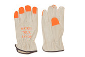 Grain pigskin driver, high visibility orange fingertips, keystone thumb (SG-6364HVFTLO)