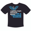 Lakȟól'iyapi Ikíčhize Waúŋ - I am a Lakota Language Warrior T-shirt Blue