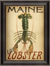 Maine lobster vintage framed art