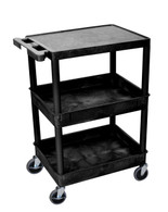 Luxor STC211-B Flat Top and Tub Middle/Bottom Shelf Cart