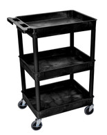 Luxor STC111-B Tub Cart with 3 shelves