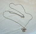 Soccer Ball Heart Bling Necklace - Black/Silver