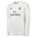 adidas Mens Real Madrid Home Long-Sleeve Jersey - White/Clear Gray (1917))