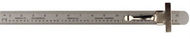 """PEC Pocket Steel Rule 6"""" with 64ths and mm, metric equivalent chart on opposite side - 31-152-2"""