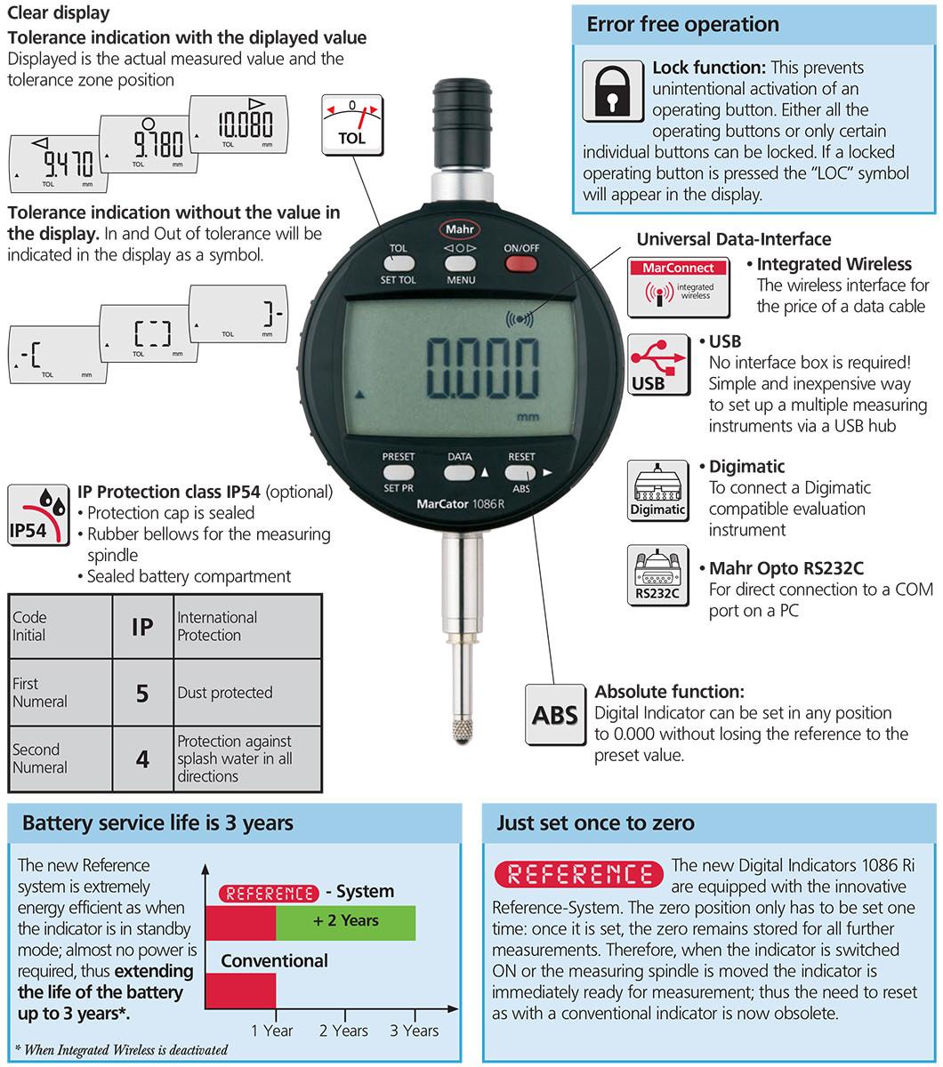 Digital Drop Indicator : Mahr digital indicators marcator ri drop test