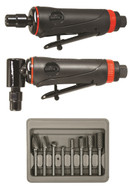 "ONYX 3pc Die Grinder Kit w/ 1/4"" 90° Angle Die Grinder, 1/4"" Die Grinder & 8pc Double Cut Carbide Rotary Burr Set - AST-219"