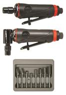 """ONYX 3pc Die Grinder Kit w/ 1/4"""" 90° Angle Die Grinder, 1/4"""" Die Grinder & 8pc Double Cut Carbide Rotary Burr Set - AST-219"""