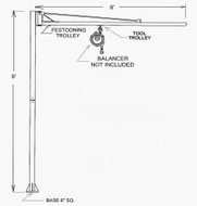 Nasco Floor Mounted Swinging Jib, 50 lbs. capacity
