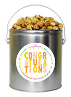 Orange Congratulations 1 Gallon Popcorn Tin