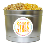 Orange Congratulations 2 Gallon Popcorn Tin