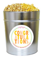 Orange Congratulations 3.5 Gallon Popcorn Tin